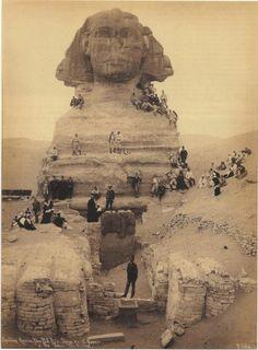 The Sphinx, ca. 1850, Giza Egypt - Pirâmides de Gizé, Guizé ou Guiza,1 é um sítio arqueológico localizado no planalto de Gizé, nos arredores do Cairo, Egito