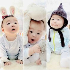 63 Ideas For Funny Baby Korean Funny Babies, Cute Babies, Baby Kids, Funny Christmas Songs, Superman Kids, Triplet Babies, Song Daehan, Song Triplets, Funny Jokes For Kids