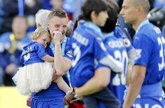PL Champion Jamie Vardy with his daughter Sofia
