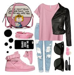 """✔️jeans and pink color✔️"" by sanela-enter ❤ liked on Polyvore featuring Olympia Le-Tan, Moschino, Topshop, H&M, Ray-Ban, Deborah Lippmann, Eos, Sif Jakobs Jewellery and Bobbi Brown Cosmetics"