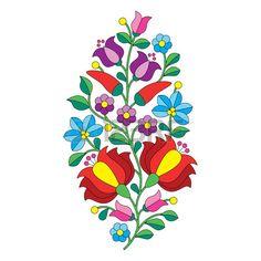 Patrón popular húngara - bordado Kalocsai con flores y pimentón