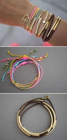 DIY Gold Tube Bracelets. Gold tube bracelets look adorable and simple to make. Here are three simple tutorials on how to make different gold tube bracelets. Get inspired and have fun!