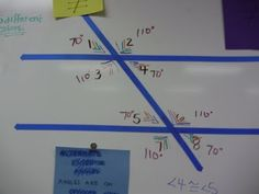 Angles formed on parallel lines cut by a transversal - notes and using tape on a whiteboard to create an example Teaching Geometry, Teaching Math, Teaching Ideas, Math Teacher, Math Classroom, Classroom Activities, Math Notes, Math Measurement, Fourth Grade Math