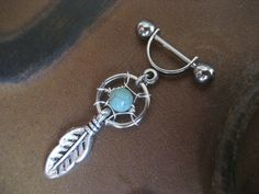 16g Dream Catcher Industrial Feather Turquoise Beaded Helix Cartilage Earring