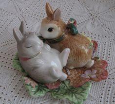 Fitz & Floyd Woodland SPRING Bunnies Salt & Pepper ____byvintageabundance