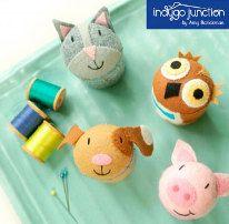Petite Felt Pincushion Pattern - Pin Pal Pets Pattern by Indygo Junction - Cat Pincushion - Owl Pincushion - Felt - Felt Pincushion. $9.99, via Etsy.
