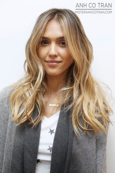 Jess Alba going for a believable blonde and some wonderful texture