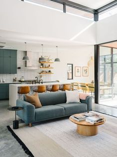 33 Inspiring Open Living Room Designs Ideas - Designing the constituents of a home starts with space planning. A living room not only brings all the family members together, but facilitates a seri. Living Room And Kitchen Together, Living Room And Kitchen Design, Open Plan Kitchen Dining Living, Small Living Rooms, Home Living Room, Interior Design Living Room, Living Room Designs, L Shaped Living Room Layout, Small Living Room Layout