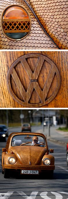 Volkswagen Beetle in Thousands of Wood Pieces