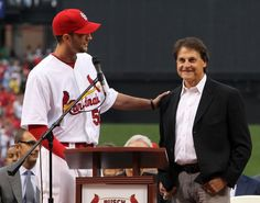La Russa and Waino during the retiring of Larussa's #10 on 5-11-12
