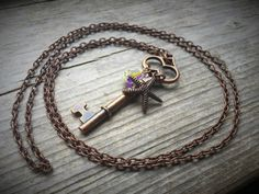 Long Antique Copper Chain Necklace With Key by McHughCreations