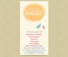 Easter Design - Emailer Book your Easter events & activations through Creative Collective. We can assist with Entertainment, Decor, Promoters, Easter Egg Hand Outs, Kiddies Play Parks, Design & more. Follow us on FB & view visuals of past events & activations https://www.facebook.com/CreativeCollectiveEvents