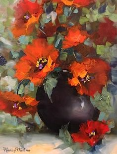 Artists Of Texas Contemporary Paintings and Art - Beguiled Again Red Poppies by Texas Flower Artist Nancy Medina Watercolor Flowers, Watercolor Paintings, Original Paintings, Floral Paintings, Oil Painting Flowers, Art Floral, Contemporary Paintings, Contemporary Stairs, Contemporary Apartment