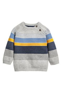 Fine-Knit cotton jumper - grey/striped - kids h&m Knitting Patterns Boys, Baby Boy Knitting, Knitting For Kids, Baby Boy Sweater, Grey Sweater, Fashion Kids, Pull Bebe, Cotton Jumper, Crochet For Boys