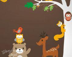 Kids Wall Decal ,animal, deer, fox, raccoon,owl, bear wall decal ,tree wall decals wall sticker
