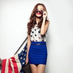 セクシータイトミニスカート ブルー クーポンコード:ANYTIME11%OFF