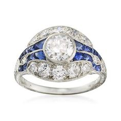 I so love this ring!! C. 1990 Vintage 1.00 ct. t.w. Sapphire and 1.53 ct. t.w. Diamond Ring In Platinum. Size 4.5