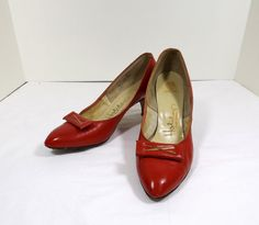 HOLIDAY Fine Shoes Custom Red Leather Heels Size 8.5 by KatsCache, $29.95