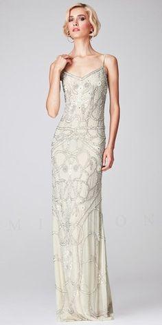 Beaded V-Neck Long Evening Dresses by Mignon Vintage Evening Gowns, White Evening Gowns, Vintage Dresses, Evening Dresses, Prom Dresses, Formal Dresses, Vintage Prom, Old Hollywood Wedding, Formal Wear