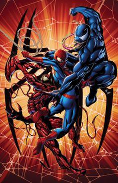 Spider-Man vs Venom and Carnage! Venom Spiderman, Marvel Venom, Spiderman Art, Amazing Spiderman, Marvel Comics Art, Marvel Films, Marvel Heroes, Marvel Characters, Marvel Universe