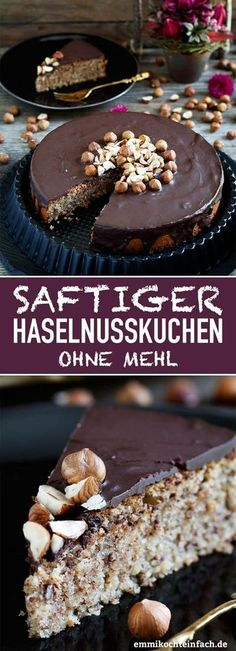 Haselnusskuchen ohne Mehl - www.de recipe without eggs Saftiger Haselnusskuchen ohne Mehl - emmikochteinfach Easy Cheesecake Recipes, Cake Mix Recipes, Easy Cookie Recipes, Dessert Recipes, Easter Recipes, Brunch Recipes, Homemade Cheesecake, Recipes Dinner, Chocolate Cookie Recipes