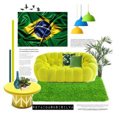 """""""Decorated in the colors of Brazil."""" by aidasusisilva ❤ liked on Polyvore featuring interior, interiors, interior design, home, home decor, interior decorating, Nearly Natural, Jayson Home, Bosa and Vivaraise"""
