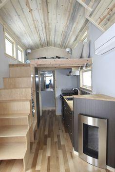 #tumbleweed #tinyhouses #tinyhome #tinyhouseplans Tiny House Tiny home with propane fireplace stove full kitchen. mobile