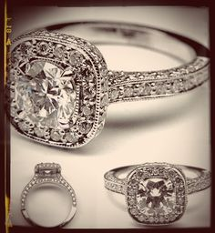 Double Diamond Halo Cathedral Vintage Engagement Ring. I wonder if any of these are even close to affordable!