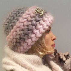 Купить Шапка Шиповник вязанная из мохера, шапка вязаная, женская, теплая. - шапа, шапка вязанная