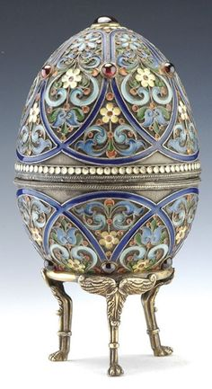 Cloisonne Eggs | Russian silver-gilt and cloisonne enamel egg and stand