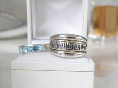 Sterling Silver 925 Set of 3 Greek Key Blue Topaz Stack Enhancer Band Wrap Ring #CNA #Stackable