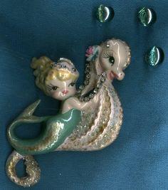 vintage mermaid & seahorse