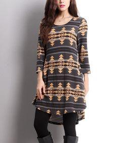$34.99 Charcoal Southwest Shirt Dress #zulily #zulilyfinds