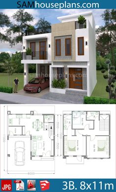 House Plans with 3 Bedrooms - Sam House Plans Modern House Floor Plans, Narrow Lot House Plans, Modern Bungalow House, Duplex House Plans, Tiny House, 3 Storey House Design, Two Story House Design, Bungalow House Design, 20x40 House Plans
