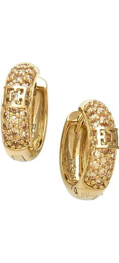 ~Escada - Champagne  Gold & Cubic Zirconia Pavé Hoop Earrings | House of Beccaria