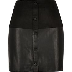 River Island Black faux-suede button-up mini skirt ($56) ❤ liked on Polyvore featuring skirts, mini skirts, black, women, faux suede skirt, button front skirt, faux suede mini skirt, fitted skirts and short black skirt