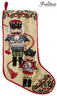 Nutcracker Suite Ornaments and Decor at Traditions Year-Round Holiday Store. Cross Stitch Christmas Stockings, Cross Stitch Stocking, Xmas Stockings, Nutcracker Sweet, Nutcracker Ornaments, Nutcracker Christmas, Merry Christmas, Christmas Cross, Christmas Ornaments