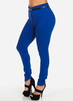 Blue High Waisted Skinny Pants With Belt