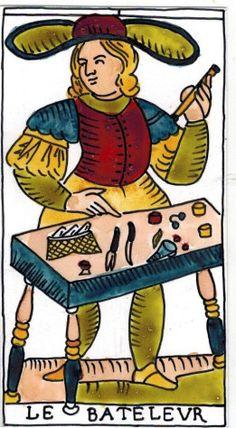Re - created Marseille Tarot deck. Hes Derua Tarot - The Magician Tarot card, painted using plants
