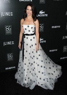 Celebs shine at the Costume Designers Guild Awards ... romantic white dress with black dot.. #kristin_davis