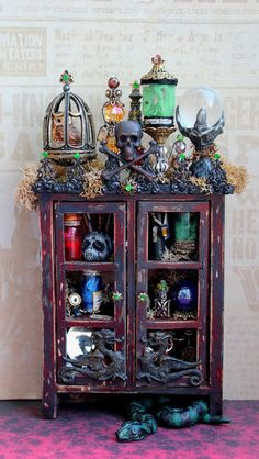 19th Day Miniatures | Dollhouse Miniature Harry Potter Death Eater Cabinet with Nagini Snake (I LOVE this person's style!)