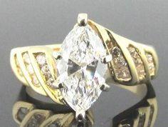 Ferro Jewelers - Estate Jewelry | 1.65 ctw Marquise- shaped Diamond ring in 14k yellow gold
