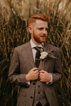 Groom in Tweed Wedding Suit with White Rose Buttonhole | By Jessica Lily Photography | 2020 Wedding | Summer Wedding | Socially Distnaced Wedding | Intimate Wedding | Barn Wedding | Pampas Grass at Wedding | Outdoor Wedding | Groom | Groom Wedding Suit