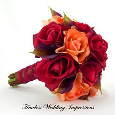 Autumn Fall Wedding Bridal Bouquet Real Touch Roses Calla Lilies Real Touch Flowers Classic French Knot