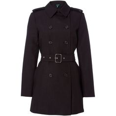 Lauren Ralph Lauren Double breasted trench coat (80.455 HUF) ❤ liked on Polyvore featuring outerwear, coats, black, women, trench coat, lauren ralph lauren, lauren ralph lauren coats, double-breasted coat and double-breasted trench coats