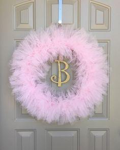 Items similar to Princess Tutu Wreath- Pink and White- Tulle Wreath- Birthday, Baby Shower, Room Decoration on Etsy Tutu Wreath, Diy Wreath, Burlap Wreaths, Girl Baby Shower Decorations, Baby Shower Centerpieces, Pyjamas Party, Tulle Crafts, Chic Nursery, Nursery Neutral