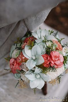 Handmade wedding bouquet in mint, coral, and ivory. Keepsake bridal bouquet. Alternative bouquet. Sola flowers. By Curious Floral $180