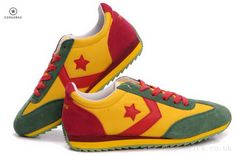 Discount Men And Women Converse Running Shoes Yellow Green Red For Cheap