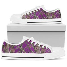 Purple Camo Ladies and Girls Sneakers then these are the low top sneakers for you also available in Vans type pattern and boots Purple Camo, White Camo, Camo Shoes, Converse Shoes, Top Shoes, Me Too Shoes, Nylons, Vanz, Shoes