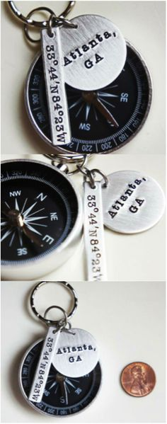 Personalized compass keychain stamped with the coordinates of any location of your choice. | Made by River Valley Designs on Hatch.co